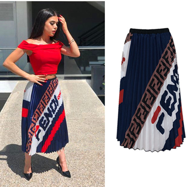 Women Pleated Retro Long Dress Double F letter Printed Elastic Waist Long Dresses Maxi Skirt Summer Beach Travel Party Club Clothing C42205