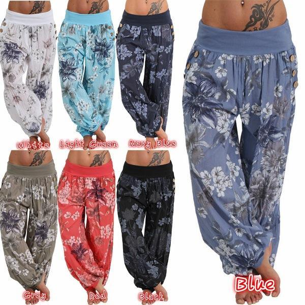 Mulheres calças Mulheres calças de pernas largas Workout fitness Estampa floral Tamanho grande Lazer e moda China fabricante de roupas femininas Venda quente