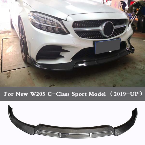 B Style Carbon fiber Bumper Front lip For Benz C Class W205 C180 C260 C300 2019UP