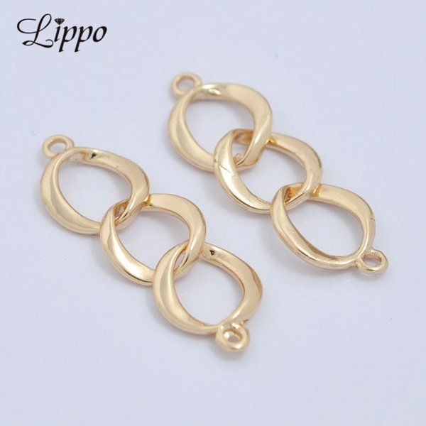 ewelry Accessories Jewelry Findings Components 30pcs 8 Shape 24k Gold Copper Chain Connector Short Curb Link Chains Earring findings and...