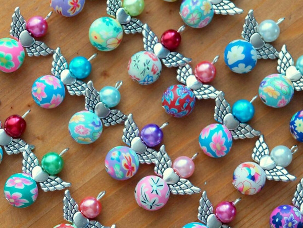 Clay Flower Beads Acrylic Imitation Pearl Pendant Metal Heart Dangle Angel Charms For Necklace Bracelet Jewelry Making Xmas Tree Decoration