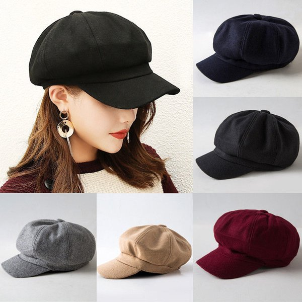 e3d6c7660de 2019 New Fashion Black Hat Cap Women Casual Streetwear Cap Elegant Solid  Autumn Winter Warm Beret Hat Female Drop shipping