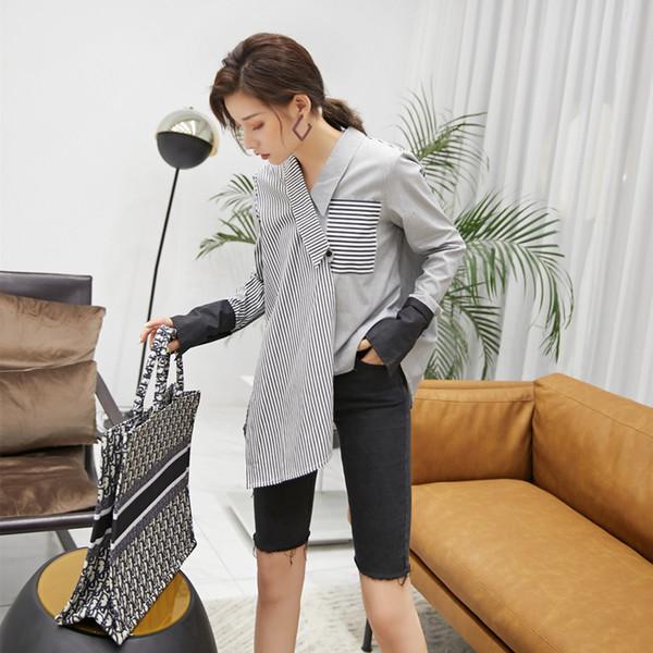 Striped Shirt Women's Autumn New Korean 2019 Vintage Irregular Splicing Long Sleeve Shirt Women Plus Size Women Shirts