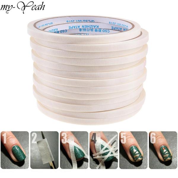 1 Pcs 3/4 / 5mm Nail Art Stripe Fita Adesiva Rolls Decoração Guia de Dicas de Design DIY Branco Listra Etiqueta Manicure Ferramentas