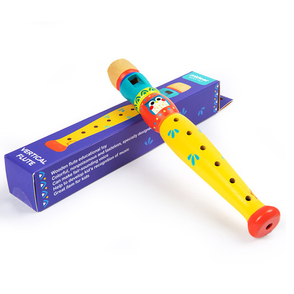 top popular Color Clarinet Instrument Kids Toy Baby Boys Girls Hot Selling Colorful Wooden Trumpet Buglet Hooter Bugle Music Toy Gift For Kids Educati 2021