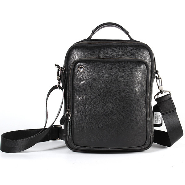 Fashion Trend Men's Leather Personality Wild Shoulder Bag Casual Men's Crossbody Vertical Head Layer Leather Men's Leather Bag jooyoo