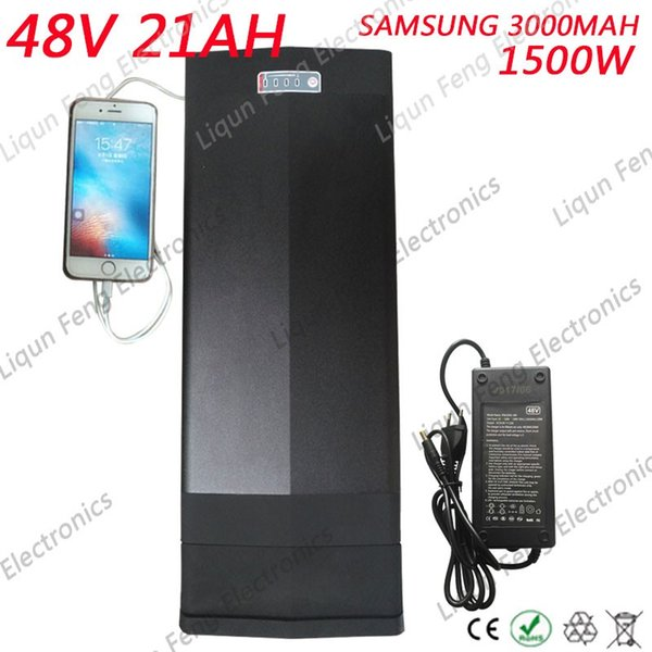 E Bike Battery 48v 21ah 1500w Used Samsung 30B Cells Built in 30A BMS with 2A Charger Lithium ion Battery 48v Free Shipping Duty