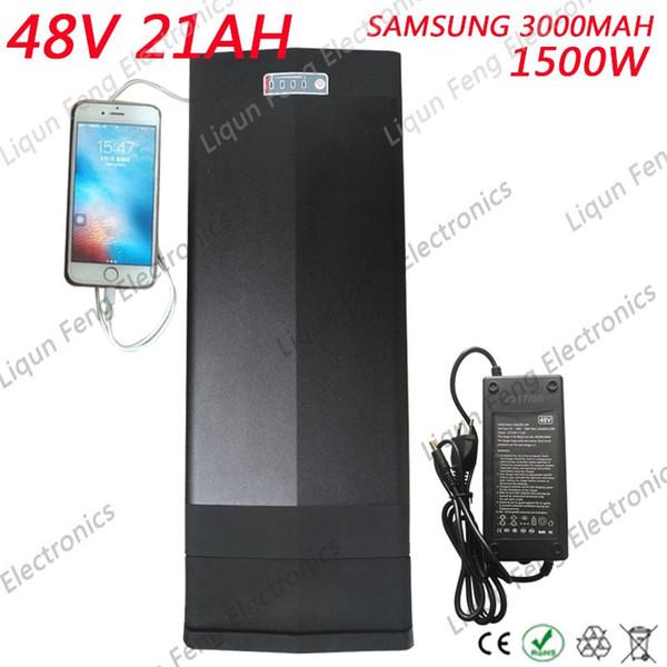E Bike Аккумулятор 48 В 21ah 1500 Вт Батареи Samsung 30B Встроенный 30А BMS с 2A Зарядное устройство Литий-ионный аккумулятор 48 В Бесплатная Доставка Duty