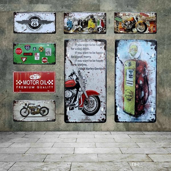 États-Unis Oil Retro Motor Motorcycle plaque d'immatriculation de voiture US Route 66 Motel Vintage Tin Signs Essence Wall Art Métal Poster 30 * 20cm ABOX