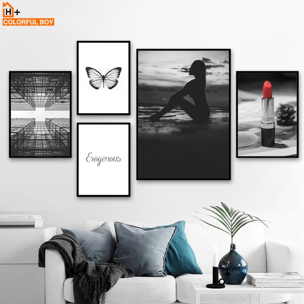 2019 y Girl Sea Lipstick Butterfly Quotes Wall Art Canvas Painting Nordic Posters And Prints Wall For Living Room Decor From Flaminglily