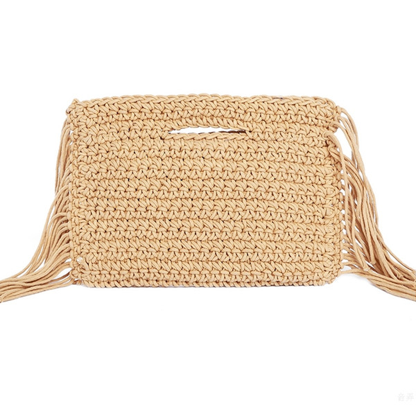 Tassels Hand Held Handmade Cotton Rope Hollow Out Woven Fringe Bag Trend Women'S Woven Handbag Straw Bag For Ladies