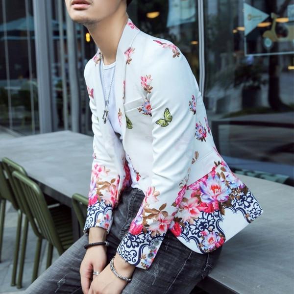 Floral Print Blazer Hombre Mens Stylish Blazer2018 Autumn Prom Blazers For Men Slim Fit Korean Style Suit Jacket Men
