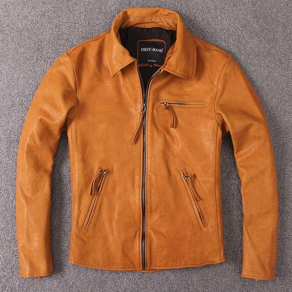 Men's Leather Jacket Vintage Wax Genuine Leather Jacket Men Coat Short Spring Autumn Real Cow Jackets Brown Slim KJ2279