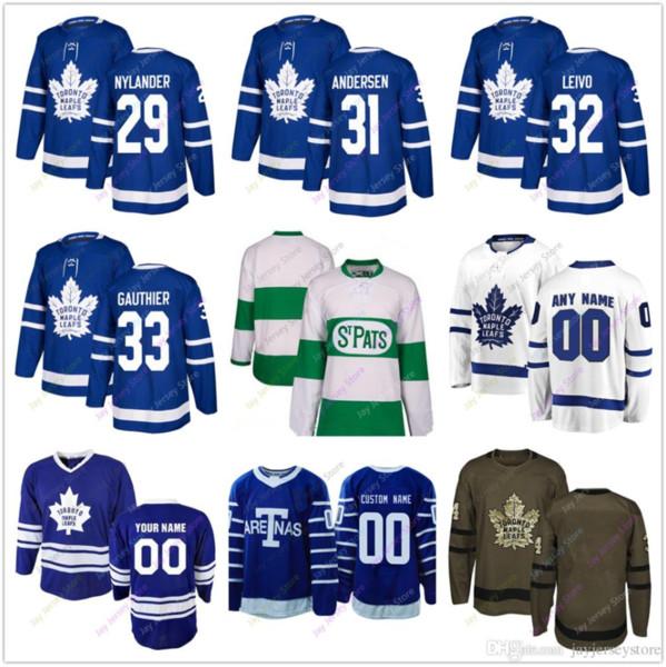 William Nylander Frederik Andersen Josh Leivo Frederik Gauthier Jersey 2019 Winter Klassiker Toronto Maple Leafs Home New Third Cheap
