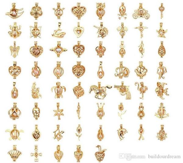 Gold Pearl Клетка Pendant- Добавьте ваши стили Собственные Бисер Микс Hollow Медальон Ароматерапия Эфирное масло Диффузор Подвеска для ожерелье Making
