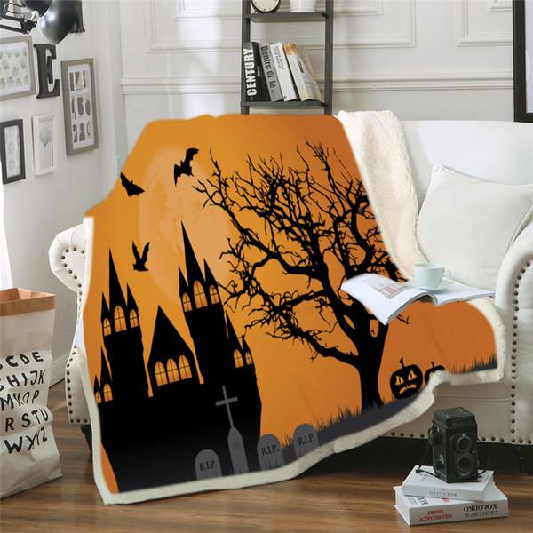 Custom DIY Printing Throw Blanket Horror Halloween Print Sofa Couch Bed Fleece Fabric Soft Warm Cover Blankets 150*200cm