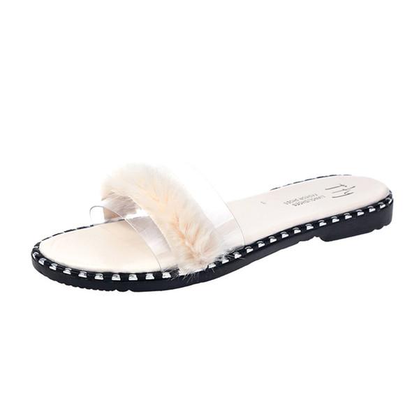 Zapatillas de verano para mujer Zapatillas de piel sintética para exterior Tacones bajos Zapatillas de punta abierta Sandalias de tacón plano de verano Zapatos de plástico transparente