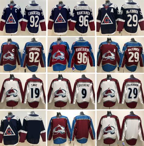 Nome personalizzato Colorado Avalanche 96 Mikko Rantanen 9 Matt Duchene 19 Joe Sakic 29 Nathan MacKinnon 92 Gabriel Landeskog Brassard Maglia da hockey