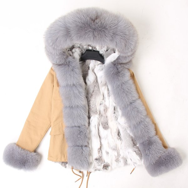 2019 new russian women winter jacket camouflage army green natural real fox fur collar coat hooded outwear rabbit thick parka SH190921