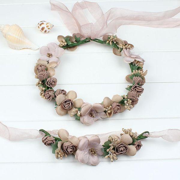 Champagne blue pink peach purple rose white beige red handmade flower headband crown garland handwrist sets for wedding festival