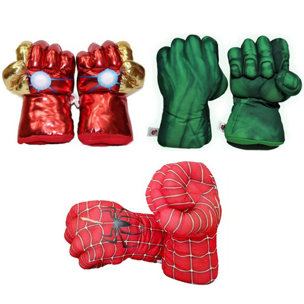 28cm The Avengers Superhero Action Figure Toys Spider man Hulk Iron Man Soft Plush Boxing Gloves Cosplay Children Boys Gift Toy