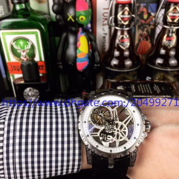 Классический бизнес роскошь моды тенденция точность импортированных топ автоматический механический полый турбийон назад большой циферблат ремень мужские часы