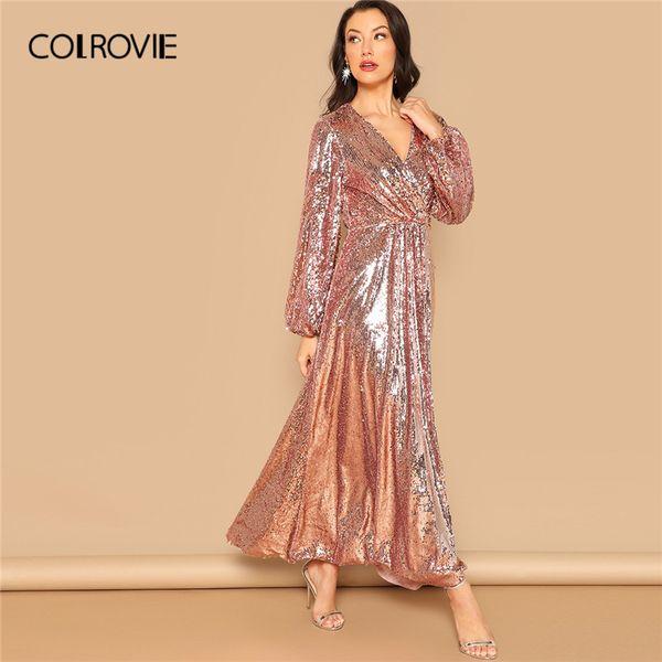 COLROVIE Pink V Neck Surplice Wrap Sequin Party Dress Women 2019 Spring Fashion Lantern Sleeve A Line Elegant Maxi Dresses