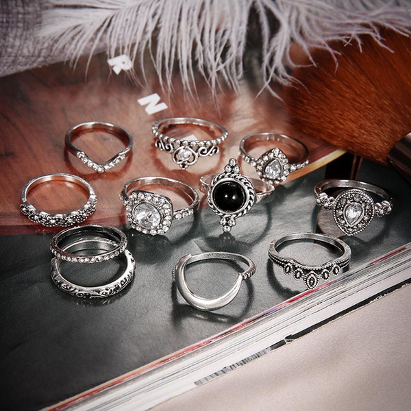 top popular Ancient Silver Knuckle Ring Set Diamond Moon Crown Heart Stacking Rings Midi Ring Fashion Women Jewelry Will and Sandy gift 2020