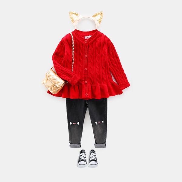 Дети Девушки Свитер Кардиган Возраст Для 1-8 Простой Толстый Теплый 2018 Новый Осень Детские Трикотажные Топы Милый Малыш Красный Круглый Вырез Повседневная