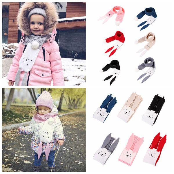 best selling 6styles Rabbit Ear Kids Scarf Cartoon Winter Warm Knitted Long Scarves Boys Girls Children Solid Soft Fashion cartoon Shawls Wraps FFA2889-1