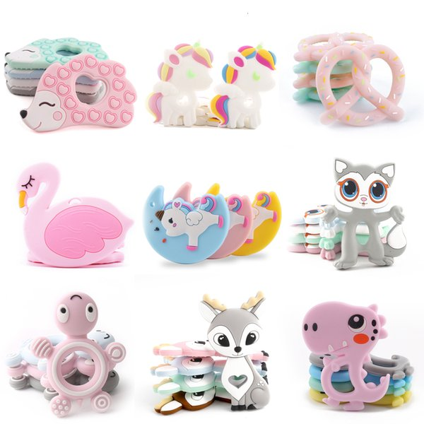 BPA Free Silicone Teethers Food Grade Tiny Rod DIY Teething Necklace Baby Shower Gifts Cartoon Animals Teether Let's Make 1pc SH190916