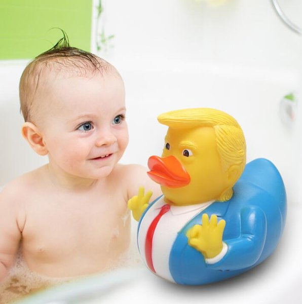 Trump Bath Duck Toy Shower Water Floating US President Rubber Duck Baby Funny Toys Water Toy Shower Duck Gift GGA1870