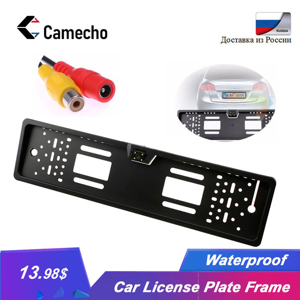 Camecho Auto Parktronic EU Cadre de plaque d'immatriculation HD Vision nocturne caméra de recul arrière Caméra arrière avec 4 led