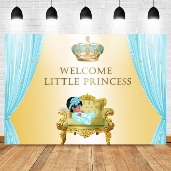 Mehofoto Baby Shower Фон для Картинки Королевская принцесса Фон Бриллиантовая Корона Голубой Занавес Золотая Фотография Backgroun