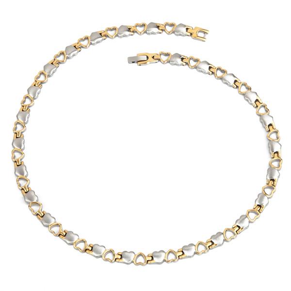 Encanto de la cadena del collar de titanio de color de 38 OroPlata terapia magnética Bio Curación salud de los hombres de Enlace collar para las mujeres