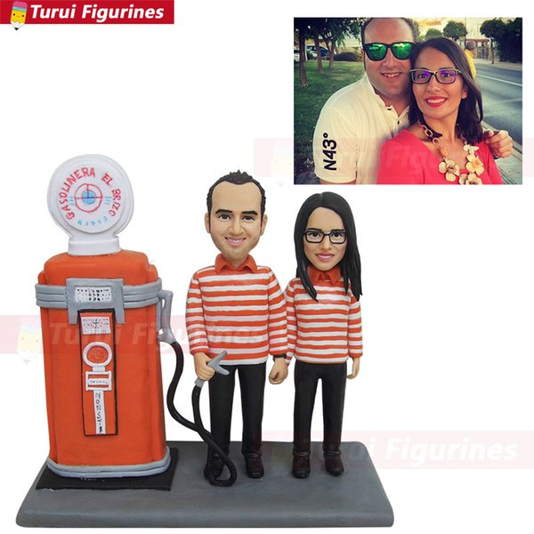 figurine custom design with backdrops polymer caly doll customize human face by Turui Figurines custom gift for wedding anniversary