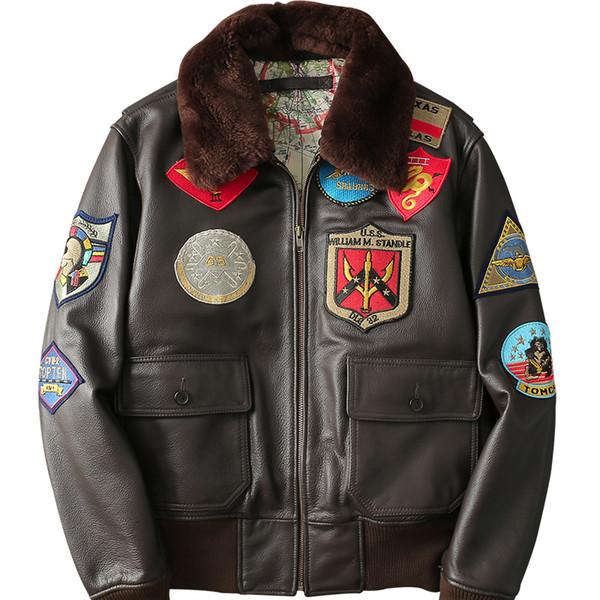 Avrupa Amerikan kostüm erkek kış airforce pilot ceketler rozeti ile hakiki inek deri ceket yama kahverengi siyah pamuk yastıklı