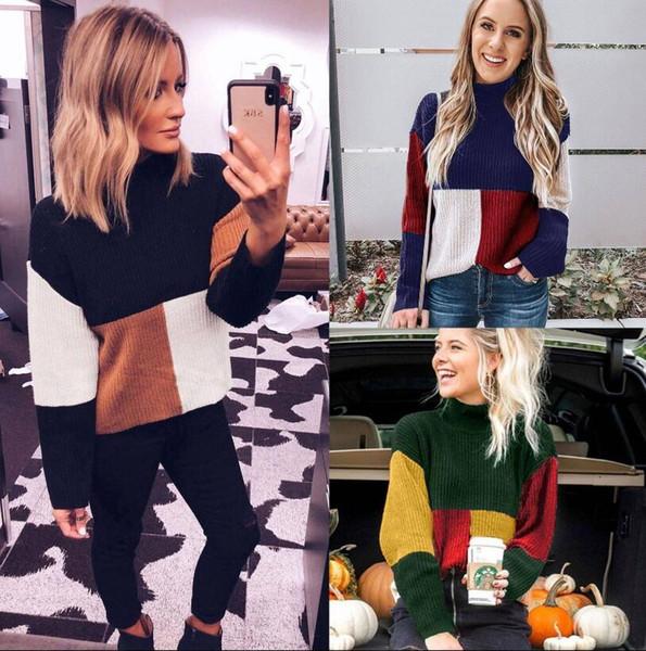 Frauen Patchwork Pullover 3 Farben Winter Stehkragen Langarm Pullover Jumper Baggy Bluse Tops Farbblock Mutterschaft Outwear OOA6037