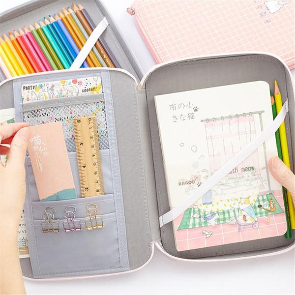 1 stück Nette Bleistiftbeutel Schule Aufbewahrungstasche Schreibwaren Korean Macaron Multifunktions Große Kapazität Federtasche für Ipad Telefon