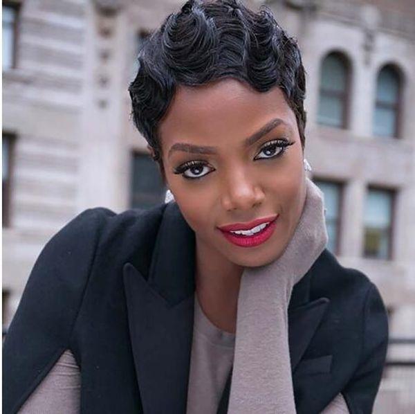 Nueva moda corto rizado negro peluca linda para las mujeres Rubio Africano Afro pelucas sintéticas para las mujeres Corto dedo Wave Cosplay peluca peluca postizo