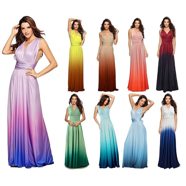 2019 Under $50 In Stock Floor Length Ombre Bridesmaid Dresses Plus Size  Backless Sleeveless Evening Prom Dress Cheap Party Gowns 2019 From  Amanda_a, ...