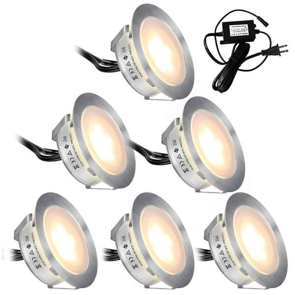 Recessed LED Deck Lights Kits 6 Pack In Ground Outdoor Waterproof IP67 Low Voltage LED Lights for Garden Yard Stair Patio Pool Deck