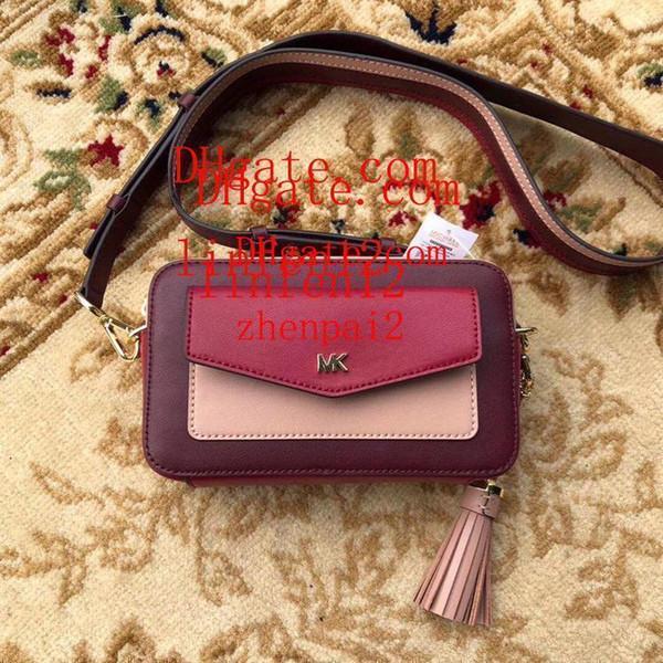 Kadınlar marka omuz çantası cilalı deri ile Üç renkli dikiş tasarım Püskül aksesuarları messenger çanta Dikdörtgen mini omuz çantası