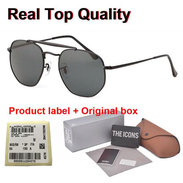 Высокое качество Hexagon Real Стеклянные линзы солнцезащитных очков Мужчины вождения металла зеркало солнцезащитные очки женщин Мужской Женский Eyewear Оттенки с корпусами и этикетки