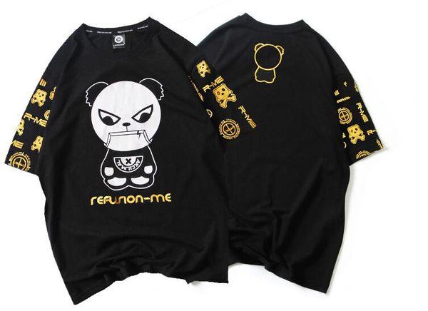 mens designer t shirts t shirt clothes cartoon panda bronzing short-sleeved men's T-shirt cotton half-sleeved large size summer shirt