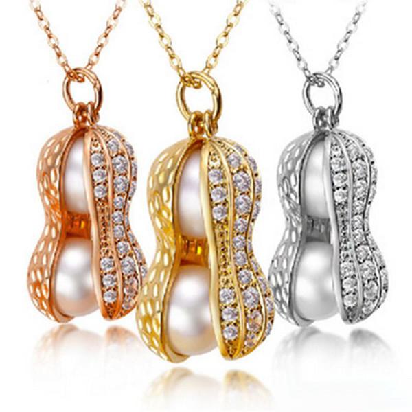 Moda colar de cristal de Amendoim imitação Natural Pingente de pérola de Prata de Ouro Rosa de Ouro cadeia Para mulheres Presente Da Jóia