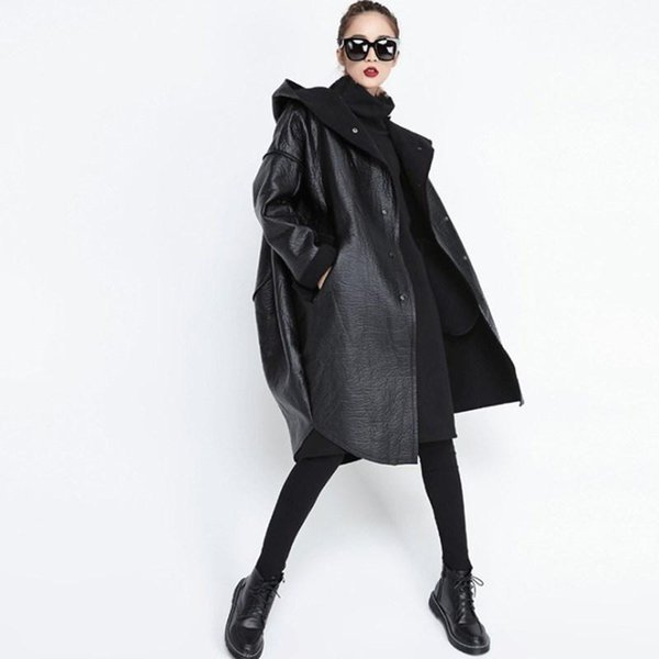 Autumn Winter Long Sleeve Hooded Coat Black Pocket Thicken Pu Leather Jacket Women Coat Loose Jacket