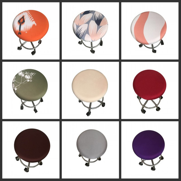 Stupendous New Round Chair Cover Bar Stool Cover Elastic Seat Home Chair Slipcover Round Bar Stool Floral Printed Black Dining Room Chair Covers Seat Cover Machost Co Dining Chair Design Ideas Machostcouk