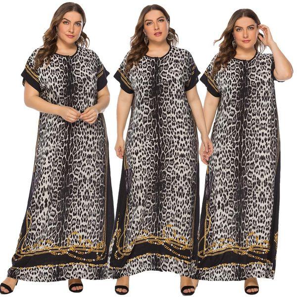 Mujeres musulmanas étnicas Vestido largo largo Robe Abaya Impreso suelto Boho Beach Verano Manga corta Kaftan Caftan Tallas grandes Medio Oriente