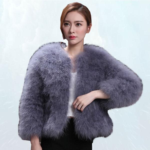 Doğal Devekuşu Kürk Kadın Kış Kadın Kürk Ceket Uzun Kollu Artı Pamuk Türkiye Kürklü Mont 2019 Moda Palto SL315